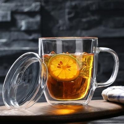 강화유리머그컵 이중유리머그컵 뚜겅머그컵 475ml
