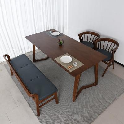 우데 고무나무 원목 4인 식탁+벤치의자 세트