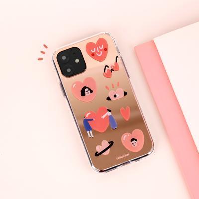 아이폰11 미러 그래픽 러브 케이스