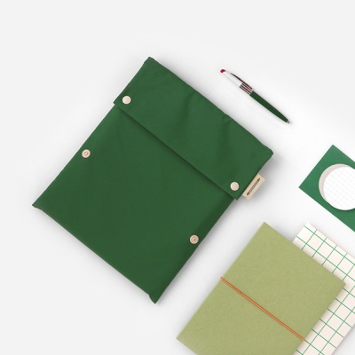 Two button book pouch_Forest green