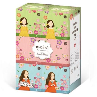 한예지 캐릭터 미니 미용티슈 250매 6입 1팩