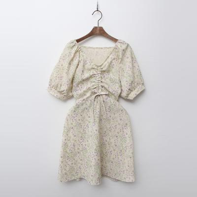 Linen Cotton Floral Shirring Dress