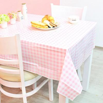 체크 비닐 테이블보(핑크)