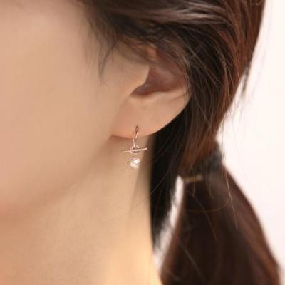 OST 진주 투웨이 하프링 실버 귀걸이