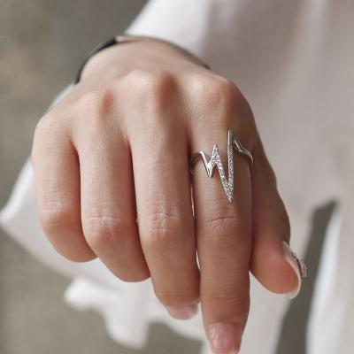 바이데이지 SR034 지그재그 큐빅 오픈형 반지