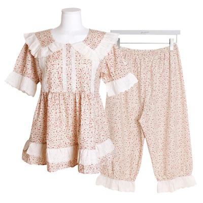 [쿠비카]세로 레이스 소매펀칭 투피스 여성잠옷 W557