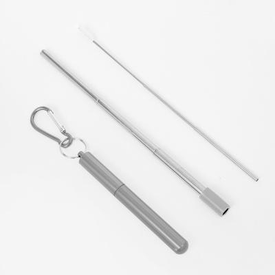길이조절 휴대용 스텐 빨대(23cm) (실버)