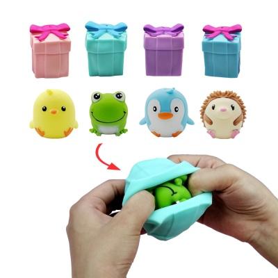 선물상자 뒤집기 반전 동물인형 말랑이 스퀴시 장난감