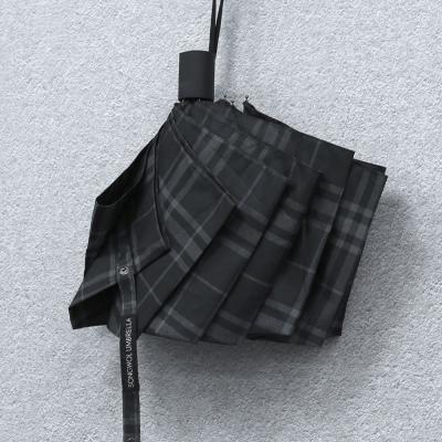 SW 3단 모던 체크 반 자동우산 고급우산