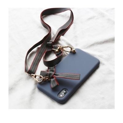 아이폰 xr xs se2 8 7 + 리본 스트랩 핸드폰줄 케이스