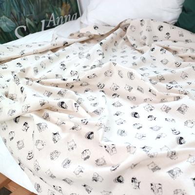 고양이의 다양한 모습이 담긴 린넨원단 - 스탬프블랙