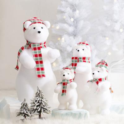 산타 북극곰 (체크레드)