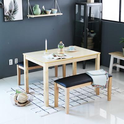 [이노센트플러스] 리브  로리앙내츄럴 렌 4인 식탁세트(벤치2개)