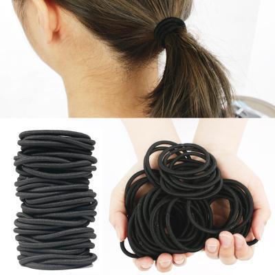 무매듭 대용량 검정 4mm 머리끈 머리 고무줄 50개