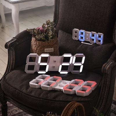 루나리스 레인보우 3D LED 벽시계 화이트