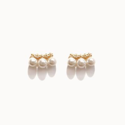 제이로렌 G0251 진주 쪼로록 3알 귀걸이