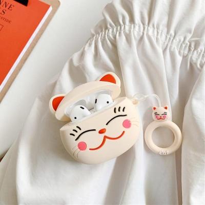 에어팟 고양이 실리콘케이스 철가루스티커 313 화이트
