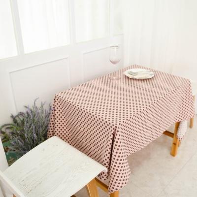 핑크 레트로 도트 면린넨 식탁보 테이블매트