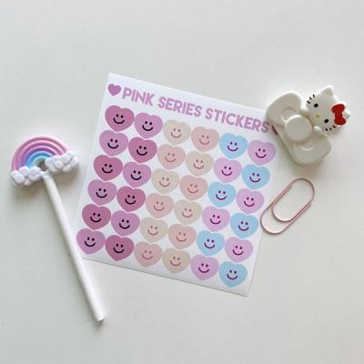 핑크시리즈 하트 스마일 스티커