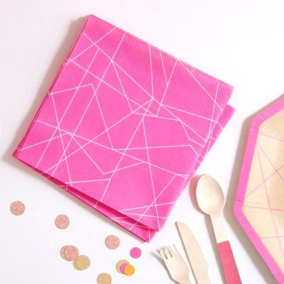 네온핑크 장식용 종이냅킨 Neon Pink Paper Napkin GR
