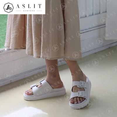 [애슬릿]발 편한 여성 이선 버클 스트랩 통굽 슬리퍼