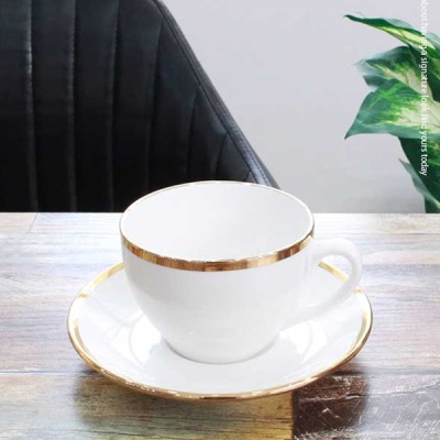 [HEIM] 퓨어화이트 골드링 커피잔 1인 set