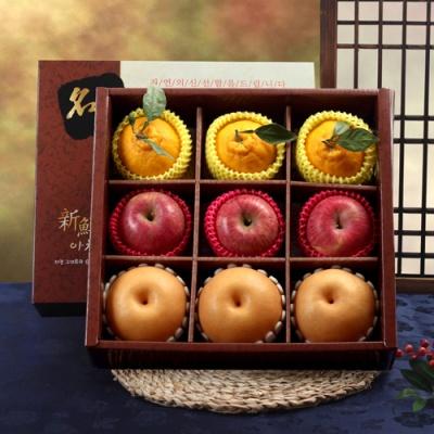 명품사각 실속 사과,배,한라봉 선물세트/3.4kg