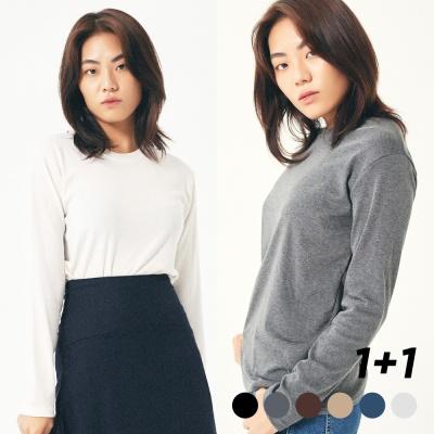 [1+1] 베이직 슬렌더 기모 긴팔티셔츠