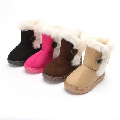 미니 버튼털부츠 140-210 유아 아동 양털 방한 신발