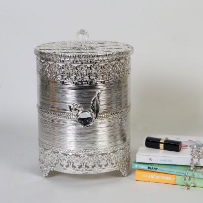 엔틱메탈 장미 원통형 휴지통 라지-3색상