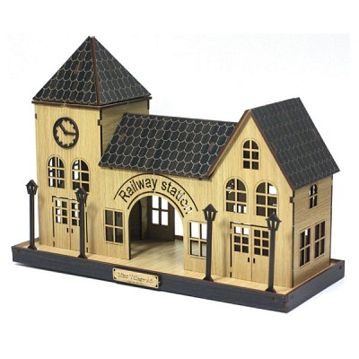 DIY나무모형 마을 시리즈5 기차역