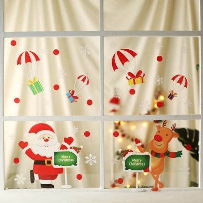 크리스마스 칼라 윈도우 스티커 (산타와 루돌프)