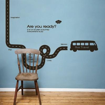 빠띠라인 디자인 스티커 a166_버스 여행길