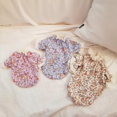 하늘멍멍 핸드메이드 꽃밤비 프릴 티셔츠 (티셔츠)