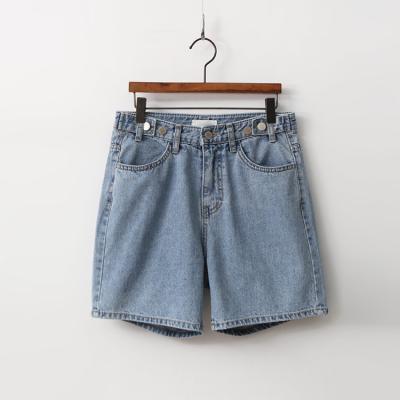 Button Loose Denim Shorts