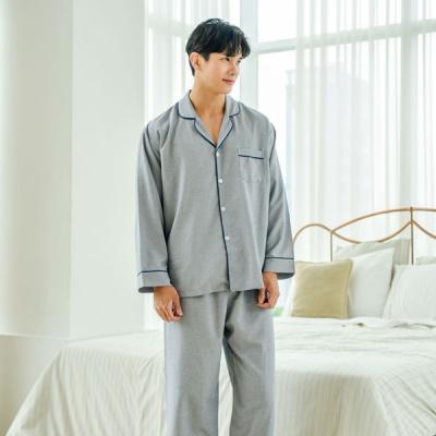 [쿠비카]솔리드 파이핑 긴소매 카라넥 남성잠옷 M166