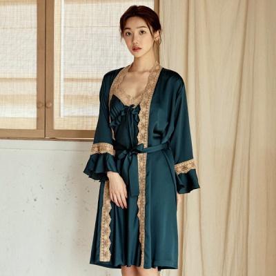[쿠비카]A라인 러플 레이스 앙상블 여성잠옷W824