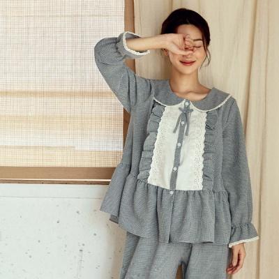 [쿠비카]바닐라 체크 면 투피스 여성잠옷W825