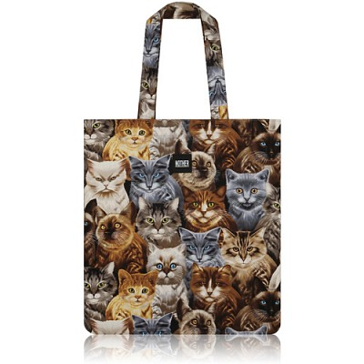 nother Packed Cats Flat Tote / 나더 고양이 패턴 플랫 토트백