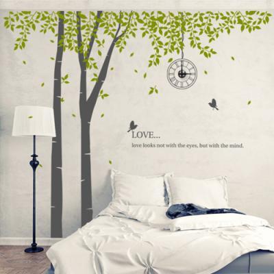 pk093-자작나무숲속새들의사랑_그래픽시계(중형)