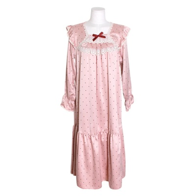 [쿠비카]도트 줄기 레이스 원피스 여성잠옷 W694