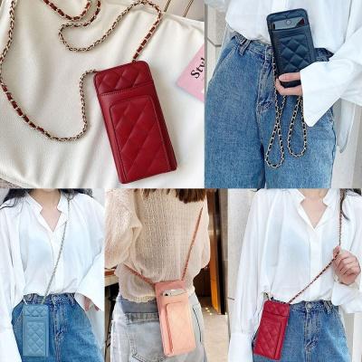 스마트폰 카드 지갑 체인 목걸이줄 가죽 파우치 가방
