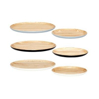 [Hubsch]Tray, round, oak, grey, s/2 트레이