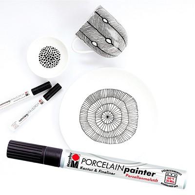 [MARABU] 가는선 그릴때..1mm 세필 도자기펜..독일 마라부 세라믹마카 아웃라이너 HF201-3