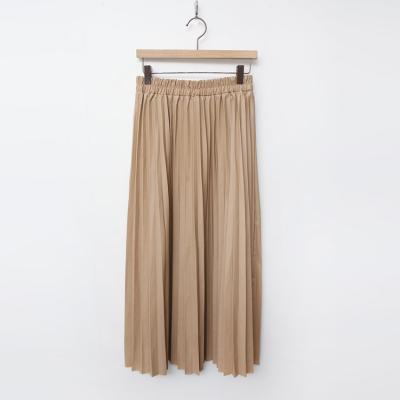 Faux Leather Pleated Long Skirt