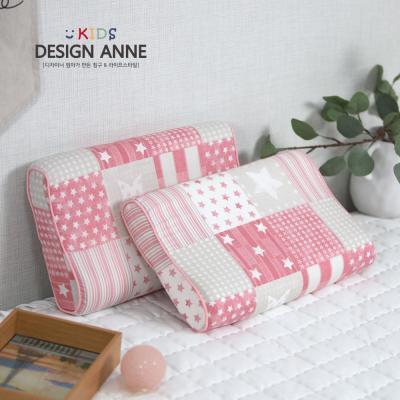 [디자인엔] 순면 스타 아동메모리폼베개-핑크