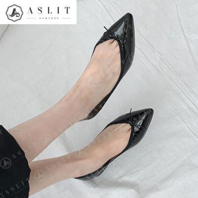 [애슬릿]스틸레토 여성 리본 구두 플랫 슈즈 1.5cm