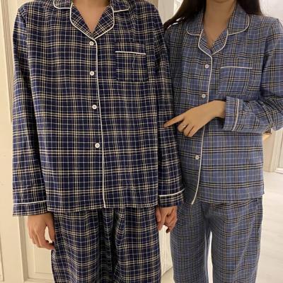 여성 홈웨어 잠옷 세트 커플 파자마 베디 타탄체크