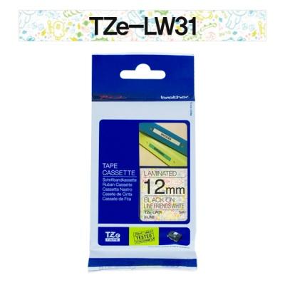 브라더정품 라벨테이프 TZe-LW31(12mm x 5M) (캐릭터 라인화이트)