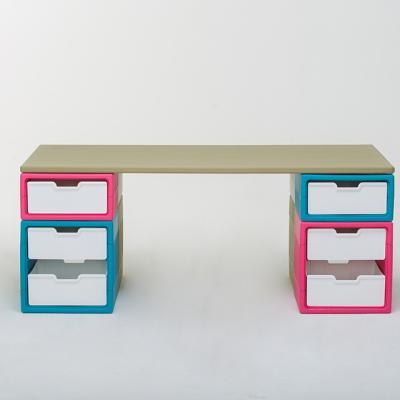 아도라하우스 큐빙 모듈 블록형 4세트+책상상판 세트